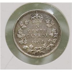 1904 CANADIAN EDWARD VII 5 CENT COIN
