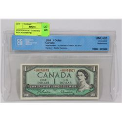 CERTIFIED UNC 62 1954 S/O REPLACEMENT CANADIAN $1