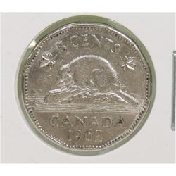 SCARCE 1962 CANADIAN DOUBLE DATE 5 CENT COIN