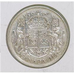 1945 CANADIAN GVI 50 CENT COIN