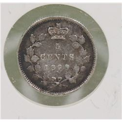 1899 CANADIAN QUEEN VICTORIA 5 CENT COIN