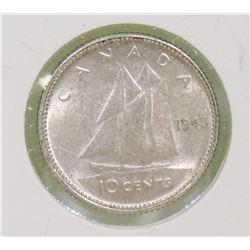 1943 CANADIAN GVI 10 CENT COIN
