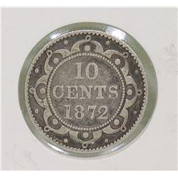 NEWFOUNDLAND 1872H SILVER 10 CENT COIN