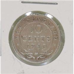 NEWFOUNDLAND 1940 10 CENT COIN