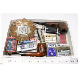 LOT OF SMOKING ITEMS INCL PIPES, LIGHTERS AND MORE