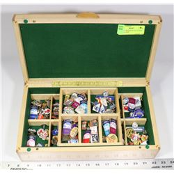 WOODEN BOX WITH COLLECTION OF LAPEL PINS