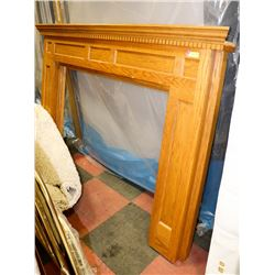 "OAK FIREPLACE MANTLE 53"" H X 73""W"