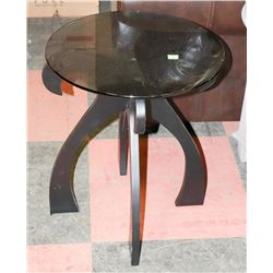 TINTED GLASS END TABLE. FURNITURE