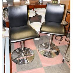 PAIR OF BLACK WITH CHROME BASED CHAIRS