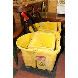 LOT OF 2 YELLOW JANITOR BUCKETS WITH MOP PRESS