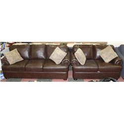 "1495 BROWN LEATHERETTE NAILHEAD 78"" SOFA & 65"""