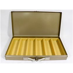 METAL COIN COLLECTORS STORAGE BOX.