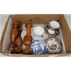BOX OF ANTIQUE GLASSWARE AND WOOD CANDLE STICKS