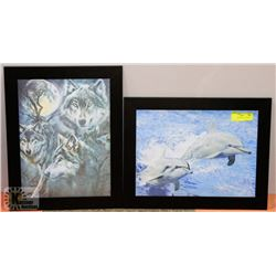 PAIR OF 3D PICTURES - DOLPHIN & WOLF.
