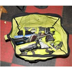 BAG OF RYOBI TOOLS INCL FLASHLIGHT, SANDER, 18V