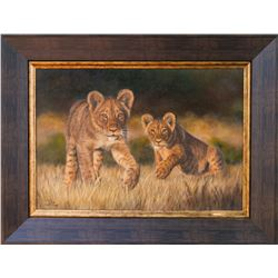 ART BY ILSE:  Inquisitive Cubs  - Original Oil Painting by ILSE de Villiers