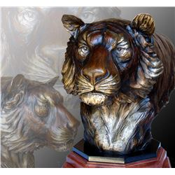 RAJ S PAUL:  A Fearful Symmetry  - Life-Size S/N Bengal Tiger Bronze Bust by Raj S. Paul - DSC's 201