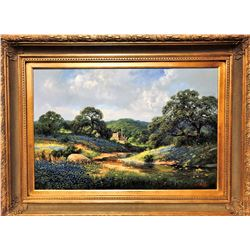 "SOUTHWEST GALLERY: ""Beauty Along The Banks"" - Original Oil Painting by Texas Landscape"