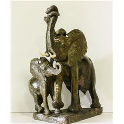 CALL OF AFRICA:  Elephant & Baby  - Verdite Sculpture by Acclaimed Zimbabwean Sculptor James Tandi