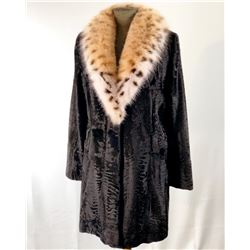 ALASKA FUR GALLERY: Ladies Black Broadtail Stroller with American Lynx Shawl Collar