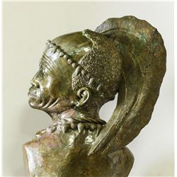 "CALL OF AFRICA: ""Zulu Warrior"" - Highly Detailed Verdite Bust by Legendary Zimbabwean Artist James T"