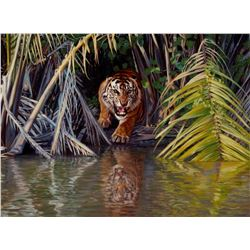 "BANOVICH: ""Man-Eater of Sumatra"" - Original Oil on Belgian Linen by Wildlife Artist John Banovich"