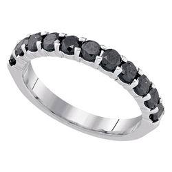 1.02 CTW Black Color Diamond Single Row Ring 10KT White Gold - REF-37F5N