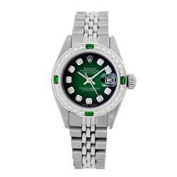 Rolex Pre-owned 26mm Womens Custom Green Vignette Stainless Steel - REF-470X2K