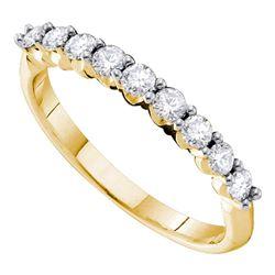 0.50 CTW Diamond Single Row Wedding Ring 14KT Yellow Gold - REF-44F9N