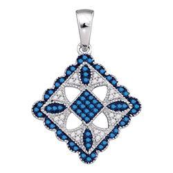 0.25 CTW Blue Color Diamond Square Pendant 10KT White Gold - REF-26X9Y