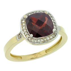 Natural 3.94 ctw Garnet & Diamond Engagement Ring 10K Yellow Gold - REF-30V9F