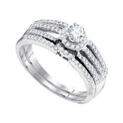 0.50 CTW Diamond Halo Bridal Engagement Ring 10KT White Gold - REF-46H4M