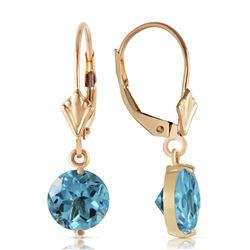 Genuine 3.1 ctw Blue Topaz Earrings Jewelry 14KT Yellow Gold - REF-34Z3N