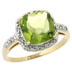 Natural 2.4 ctw Peridot & Diamond Engagement Ring 14K Yellow Gold - REF-34H3W