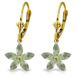 Genuine 2.8 ctw Green Amethyst Earrings Jewelry 14KT Yellow Gold - REF-46R7P