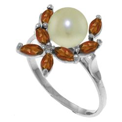 Genuine 2.65 ctw Pearl & Garnet Ring Jewelry 14KT White Gold - REF-28M5T