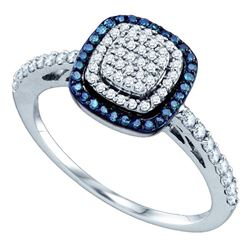 0.40 CTW Blue Color Diamond Square-shape Cluster Ring 10KT White Gold - REF-32N9F