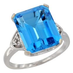 Natural 5.44 ctw swiss-blue-topaz & Diamond Engagement Ring 10K White Gold - REF-32A2V