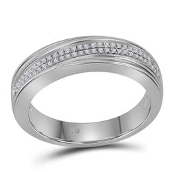 0.20 CTW Mens Diamond Double Two Row Wedding Anniversary Ring 10KT White Gold - REF-41X9Y
