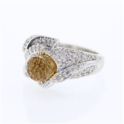 4.39 CTW Citrine & Diamond Ring 14K White Gold - REF-82K7W
