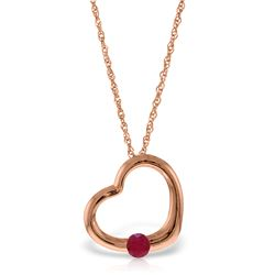 Genuine 0.25 ctw Ruby Necklace Jewelry 14KT Rose Gold - REF-30N5R