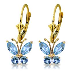 Genuine 1.24 ctw Blue Topaz Earrings Jewelry 14KT Yellow Gold - REF-38W2Y