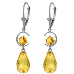 Genuine 11 ctw Citrine Earrings Jewelry 14KT White Gold - REF-46A7K