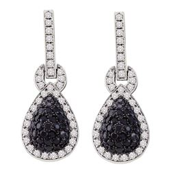 1.8 CTW Black Color Diamond Teardrop Dangle Earrings 10KT White Gold - REF-97X4Y