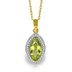 Genuine 2.15 ctw Peridot & Diamond Necklace Jewelry 14KT Yellow Gold - REF-62F3Z
