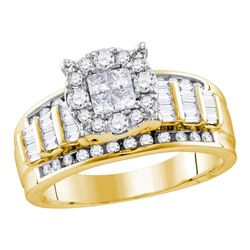 0.99 CTW Princess Diamond Soleil Cluster Bridal Engagement Ring 10KT Yellow Gold - REF-82F4N