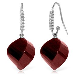 Genuine 30.68 ctw Ruby & Diamond Earrings Jewelry 14KT White Gold - REF-67Y3F