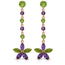 Genuine 4.8 ctw Peridot & Amethyst Earrings Jewelry 14KT Rose Gold - REF-56F8Z