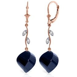 Genuine 30.52 ctw Sapphire & Diamond Earrings Jewelry 14KT Rose Gold - REF-66R2P