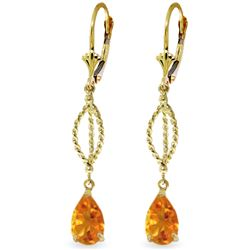 Genuine 3 ctw Citrine Earrings Jewelry 14KT Yellow Gold - REF-45V5W